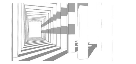 Perspective of walkway, shade and shadow, architectural design 3D rendering