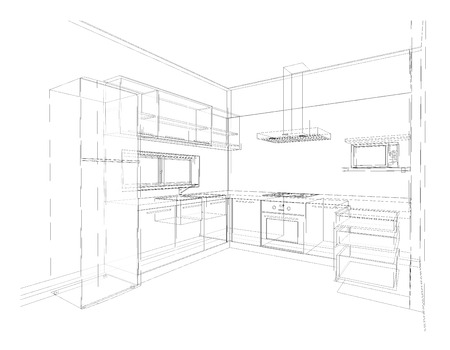 Interior design of modern style kitchen, 3D wire frame sketch, perspective Stock Photo