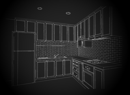 wire frame: Interior design of country style kitchen, 3D wire frame sketch, perspective on black background