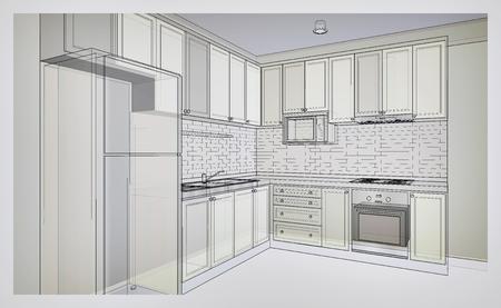 Inter Design Von Landartküche, 3D-Drahtrahmen Skizze, Perspektive ...