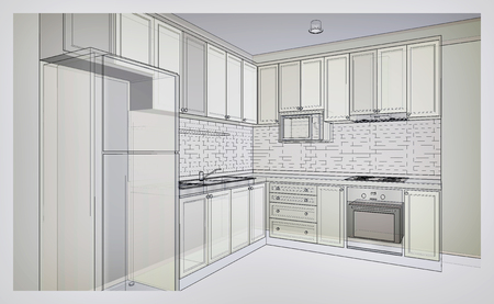 x country: Interior design of country style kitchen, 3D wire frame sketch, perspective in grey tone color Stock Photo