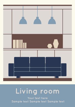 Graphic of Living area, interior design, flat illustration Ilustração