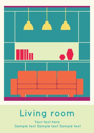 Graphic of Living area, interior design, flat  illustration