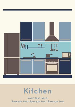 Graphic of Kitchen, interior design, flat  illustration