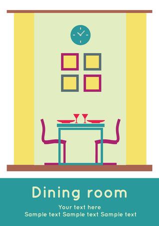 dinner date: Graphic of Dining area, interior design, flat  illustration Illustration