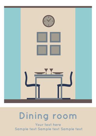 Graphic of Dining area, interior design, flat  illustration Ilustração