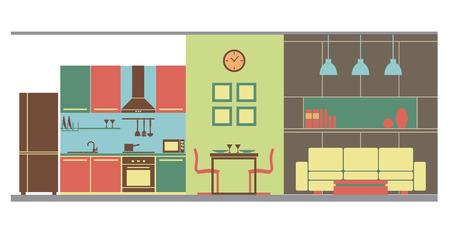 Graphic of living dining and kitchen area, interior design, flat illustration Ilustração