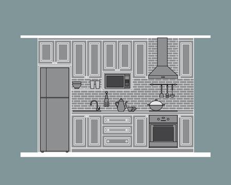 modern kitchen: Kitchen design, classic style cabinet with modern appliances,  flat illustration