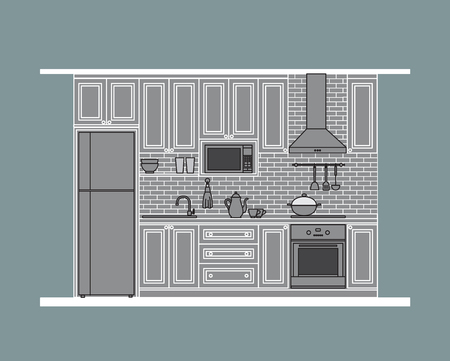 Kitchen design, classic style cabinet with modern appliances,  flat illustration