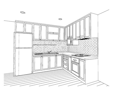 country kitchen: Interior design of country style kitchen, 3D outline sketch, perspective