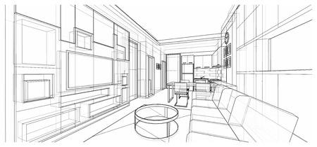 Interior design of living area, apartment planning design, illustration