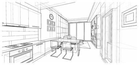 Interior design of dining area, apartment planning design, illustration