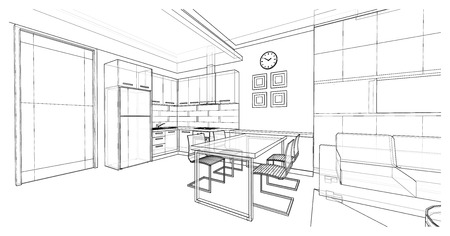 Interior design of dining area, apartment planning design, 3D wire frame sketch illustration