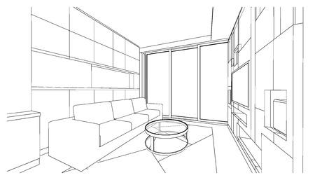 Interior design of living area, apartment planning design, 3D outline sketch  illustration Imagens