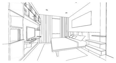 Interior design of modern style bedroom, 3D outline sketch, perspective