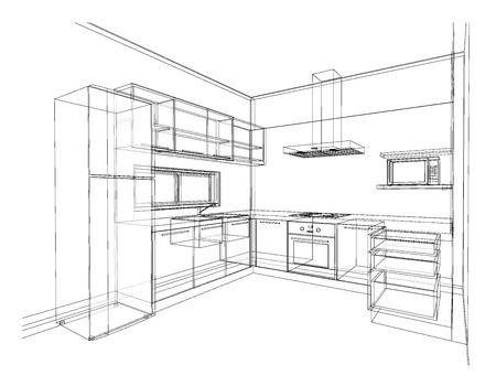 Interior design di cucina in stile moderno, wire frame 3D schizzo, prospettiva Archivio Fotografico