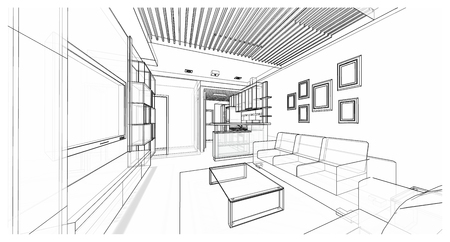Interior design of living area, apartment planning sketch design, illustration