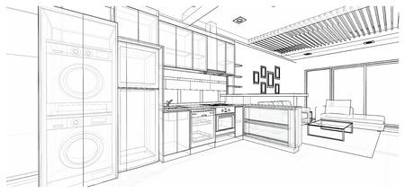 モダンなスタイルのキッチン、3 D ワイヤ フレーム スケッチ、遠近法のインテリア デザイン