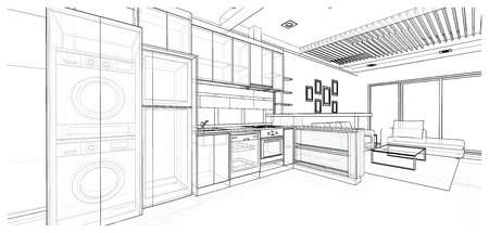 Interior design of modern style kitchen, 3D wire frame sketch, perspective Imagens