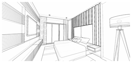 lath in modern: Interior design of modern style bedroom, 3D wire frame sketch, perspective