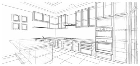 Interior design of classic style kitchen with modern appliance, 3D wire frame sketch, perspective 免版税图像