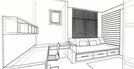 Aménagement intérieur d'une salle polyvalente, d'une salle de travail et d'une chambre, croquis en fil de fer 3D, perspective