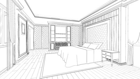 Interior design of modern classic style bedroom, 3D outline sketch, perspective Stock fotó
