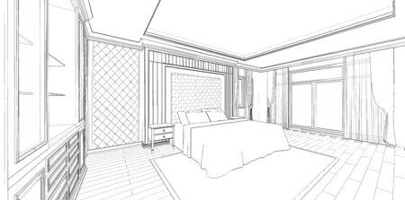 Interieurontwerp van moderne slaapkamer in klassieke stijl, 3D-overzichtsschets, perspectief