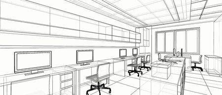 Interior design of small office area, 3D wire frame sketch, perspective