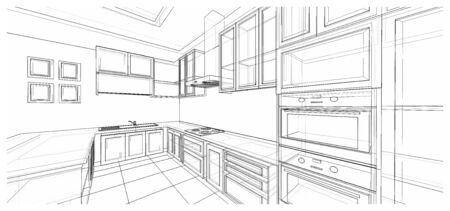 Interior design of classic style kitchen with modern appliance, 3D wire frame sketch, perspective