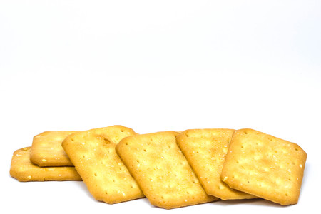 white sesame seeds: Biscuit with white sesame seeds  on white background Stock Photo