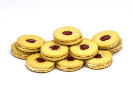 smilie: Biscuit with jam on white background