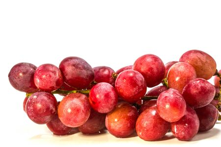 Red grape with water drops on white background photo