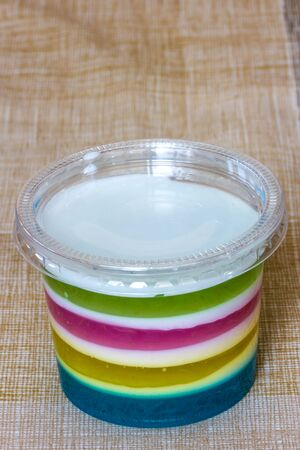 pectin: Colorful jelly in plastic cups