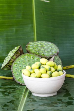 corbel: Lotus seed on banana leaf