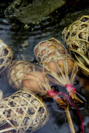 huevos de codorniz: Huevos de codorniz en ebullición ronda cesta de bambú en aguas termales