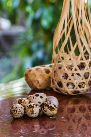 huevos de codorniz: Huevos de codorniz en la cesta de bambú redonda sobre una mesa de madera