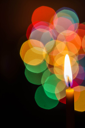 candle light: candle light at night with color bokeh Stock Photo