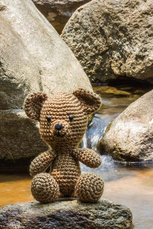 bear doll: Single bear doll on nature background