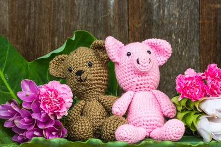 bear doll and pig doll with flowers on wood background Stock Photo