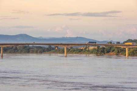 The bridge,Khong river north Thailand. Banco de Imagens