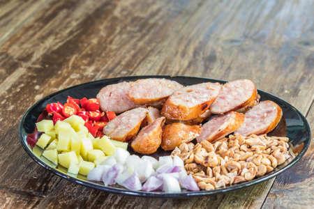 Thai pork and rice sausages (Sai Krok Isan or Isan Sausage)