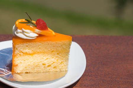 Orange cake on mountain background Standard-Bild