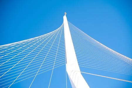 cable stayed futuristic white bridge in Jerusalem Stock Photo