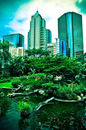 Urban landscape of Hong Kong skyscrapers meets nature