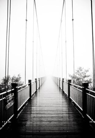 view on pedestrian wooden bridge in mist photo