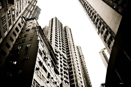 view on the skyscrapers of Hong Kong residential district Stock Photo
