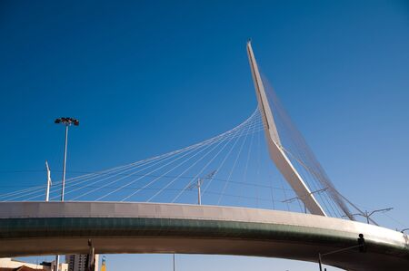 cable stayed futuristic white bridge in Jerusalem
