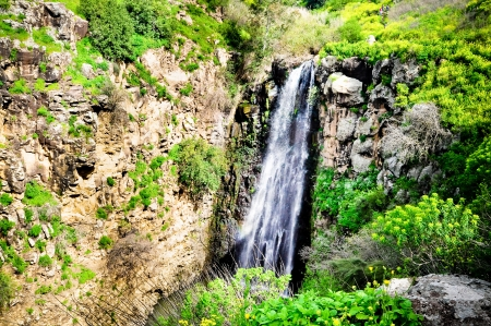 nature reserves of israel: Gilabon waterfall in Golan heights, north of Israel Stock Photo