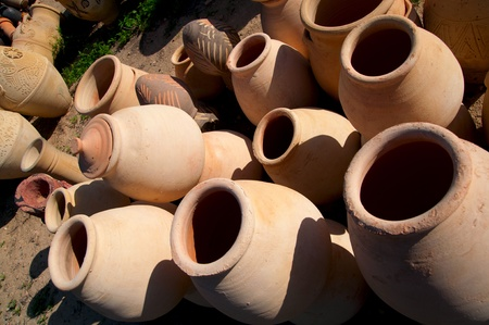 variety of pottery in middle east markets Stock Photo